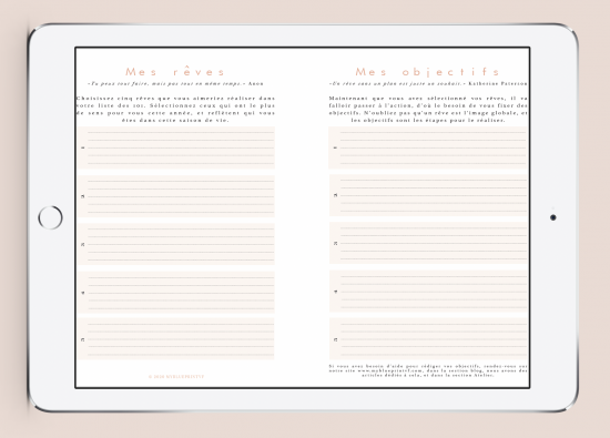 Myblueprintvf - Planner Digital Non-date pdf agenda rêves developpement personnel objectifs & rêves