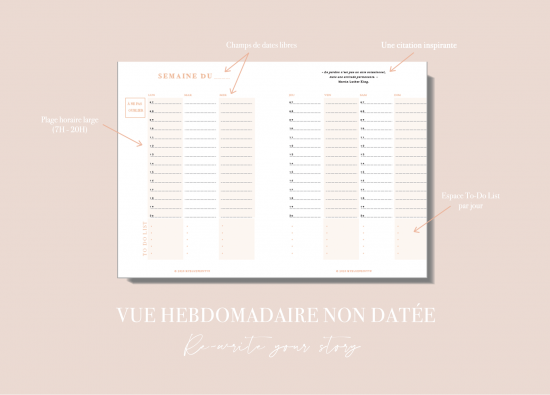 Myblueprintvf - Planner Digital Non-date pdf agenda rêves developpement personnel - Vue Hebdomadaire